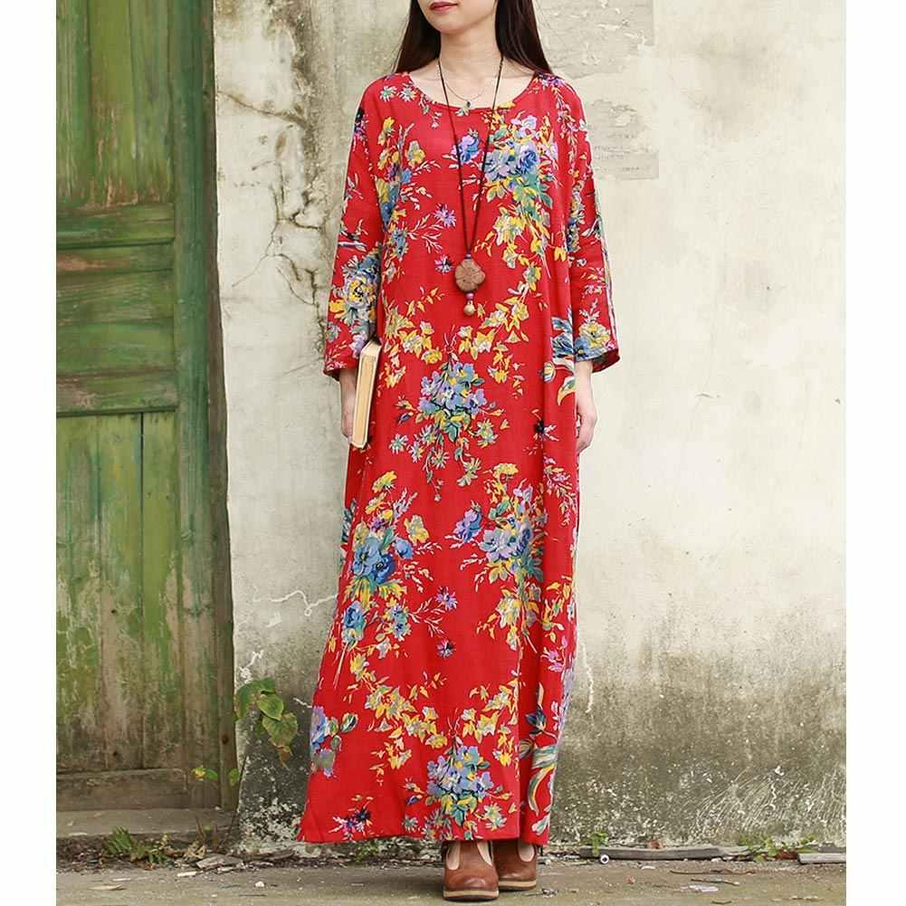 Maxi Dress Wanita Katun Linen Ethnic Dress Jubah Panjang Wanita Bermotif Bunga Boho Vintage Gaun 2019 Musim Gugur Musim Dingin Plus Ukuran gaun