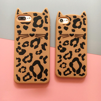 Hongmeng 3d Lovely Cartoon Leopard Beard Cat Soft Silicone Phone Case For Iphone 8 8 Plus