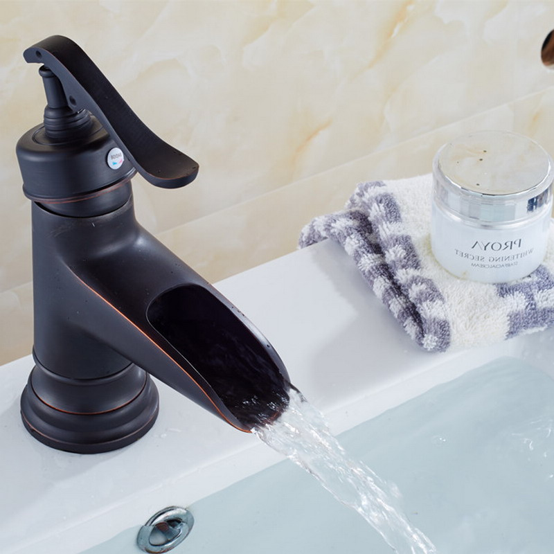 NEW Water Pump Look Style Black Oil Rubbed Antique Brass Single Handle Bathroom Faucet Sink Basin