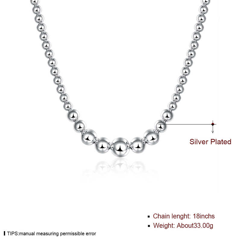 925 Silver Color Exquisite Noble Luxury Gorgeous Charm Fashion vary Chain Women Lady Beads Necklace 18 Inches Silver Jewelry