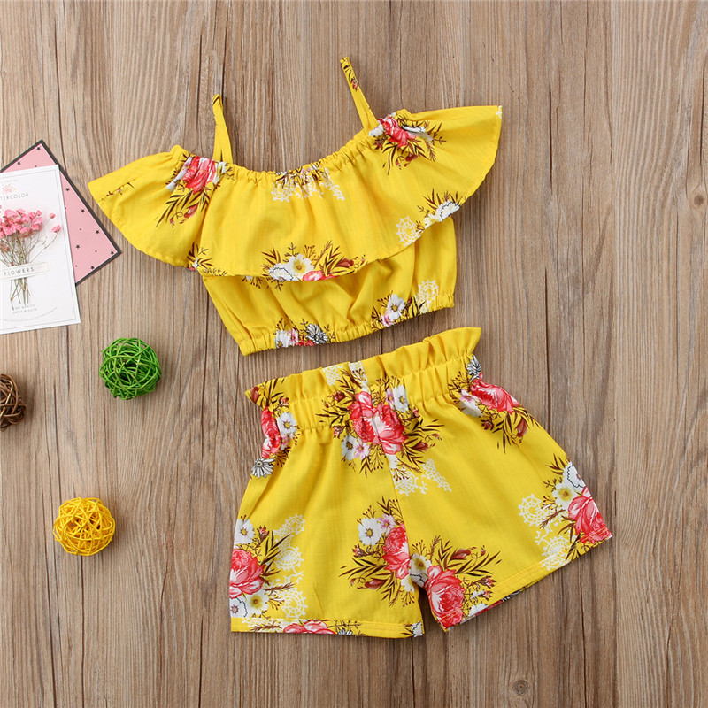 2PC Fashion Toddler Baby Girls Sleeveless Solid Ruffles Tops+Shorts Outfits Sets