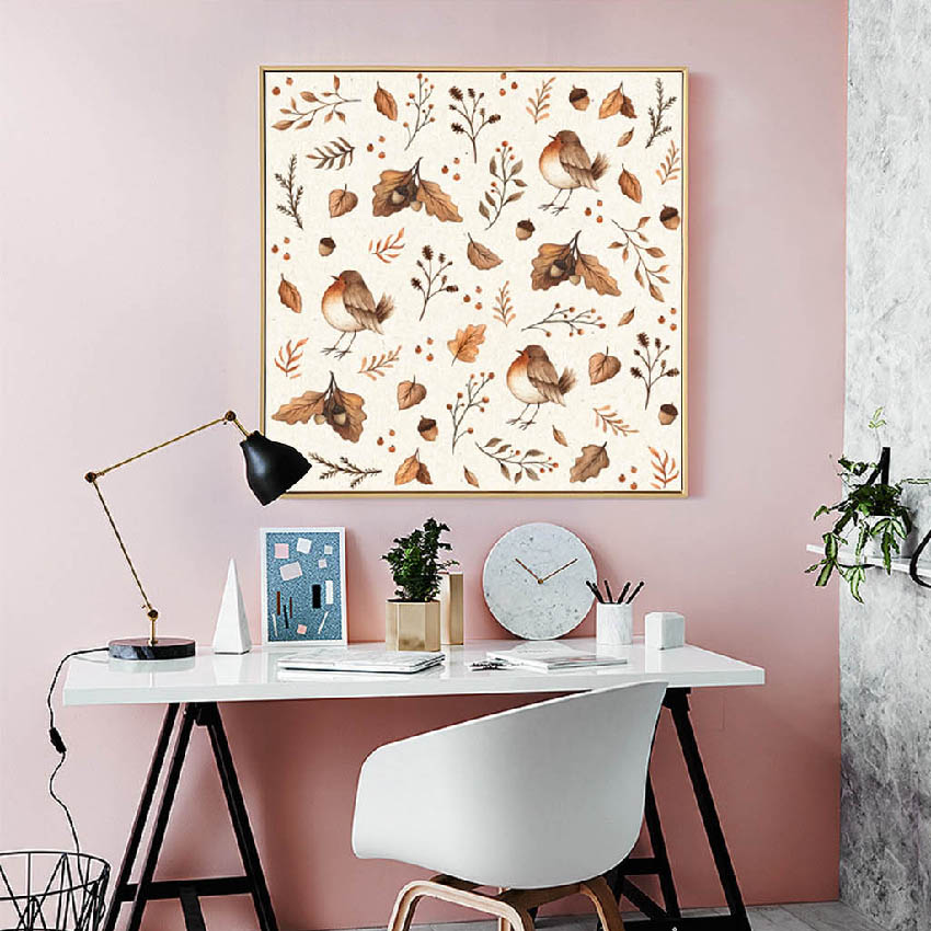 Modern Cute Cartoon Rabbit And Bird Poster Print Picture Family Wall Art Canvas Painting Walkway Children Room Decoration Custom in Painting Calligraphy from Home Garden