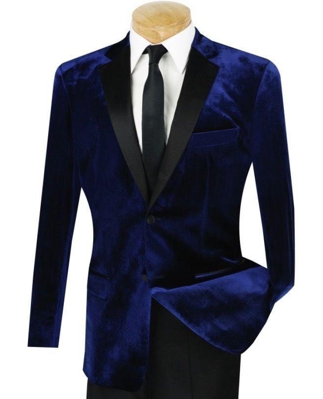 Velvet Royal Blue Tuxedo Coat Mens Suit Slim Fit 40r 42r 44r 46r 46l 48l Custom