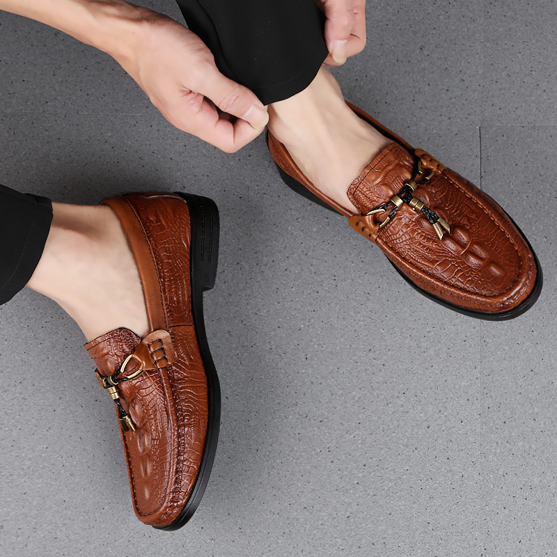 Rommedal Man Genuine Cow Leather Casual Shoes Crocodile Skin Soft Moccasins Anti-Slip Flat Loafers Drive Shoes Erkek Ayakkabi