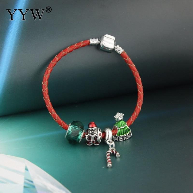 2017 New Christmas Holiday Bracelet Pulseras Mujer Bracelet Jewelry Santa Claus Christmas Tree Bracelets For Women