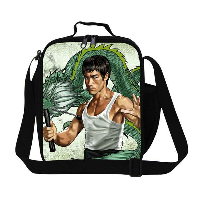 Dispalang 2017 new arrival Bruce Lee The Dragon printing lunch bag kids insulated cooler bags thermal picnic food bag for adults