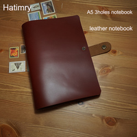 Hatimry New a5 genuine leather notebook 3 holes spiral travelers notebook with button vintage style sketh books school supplies