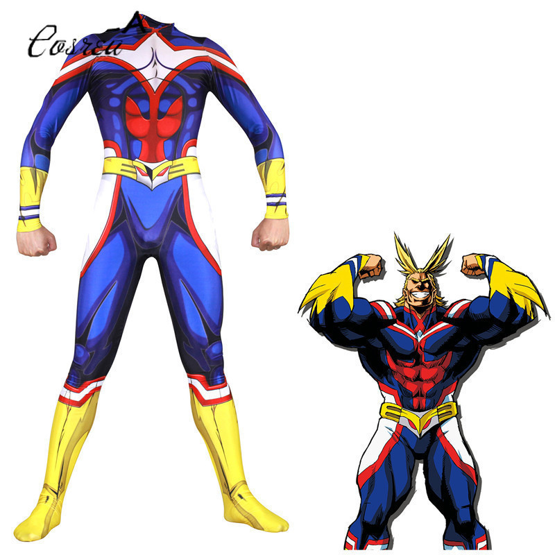 Anime My Hero Academy Cosplay Onesie Adult Zipper Bodysuit One-piece Zentai Catsuit Jumpsuits Suit All Might Spandex Costumes