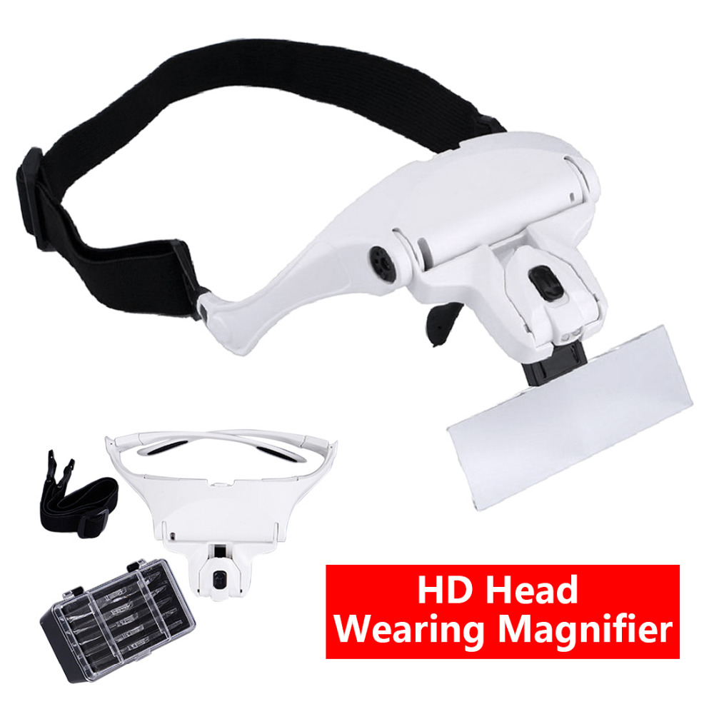 Creative Gift 1.0X 1.5X 2.0X 2.5X 3.5X 5 Lens Adjustable Loupe Headband Magnifying Glass Magnifier with LED Magnifying Glasses