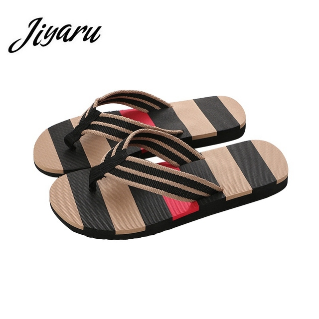 d64a3a8f1e3 Summer Men Slippers Stripe Flip Flops Men Bathroom Home Slippers Fashion  Outside Beach Slippers for Male