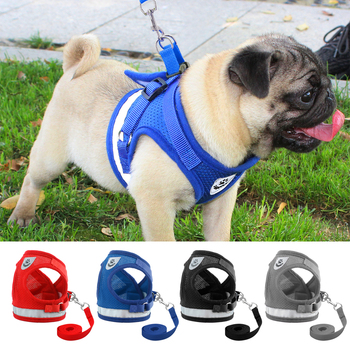 Dog Harness for Chihuahua Pug Small Medium Dogs Nylon Mesh Puppy Cat Harnesses Vest Reflective Walking Lead Leash Petshop
