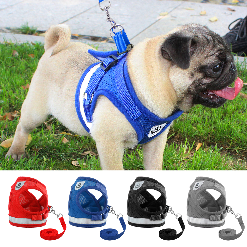 Dog Harness for Chihuahua Pug Small Medium Dogs Nylon Mesh Puppy Cat Harnesses Vest Reflective Walking Lead Leash Petshop штатив benro t 800ex