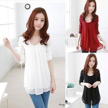 Shirt Scorching Sale Full Strong Blusas Ladies's Chiffon Shirt Fundamental O-neck Lengthy-sleeve Slim Hip Double Layer Cool High