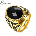 Fashion Brand Vintage Gold Plated Wedding Engagement Rings Stainless Steel Black Agate Masonic Rings For Men aneis masculino