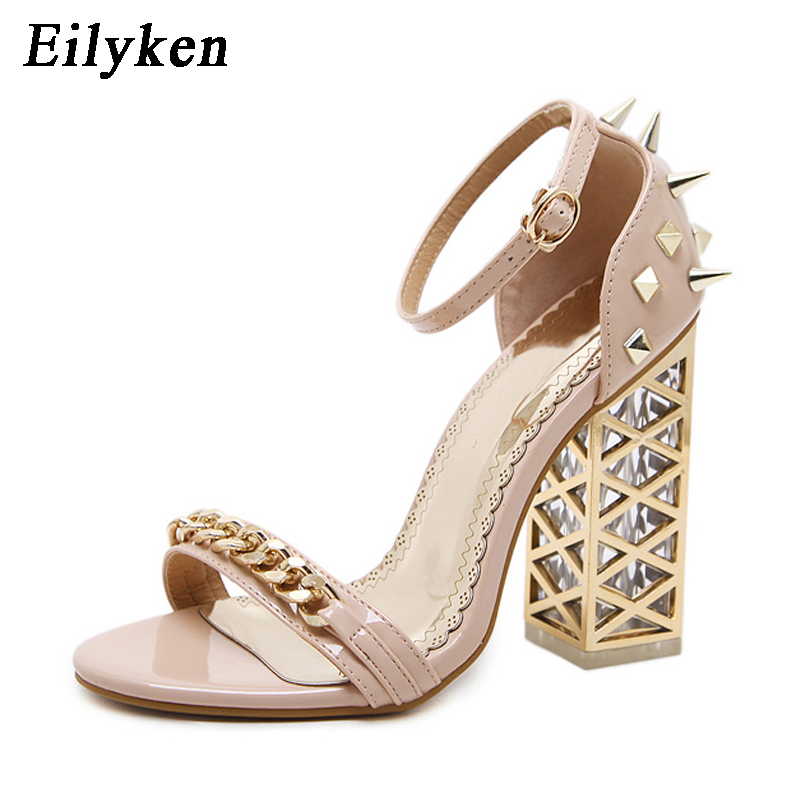 Eilyken 2019 New Sexy Rivet Women Sandals Clear Heel Crystal Buckle Strap Pumps Sandals Summer Rome Sandals For Women