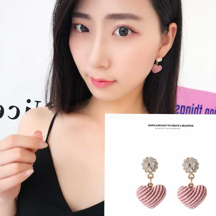 2019 Hot Selling Korean Sweet Fashion Crystal Lovely Pink Heart Ear Pendant