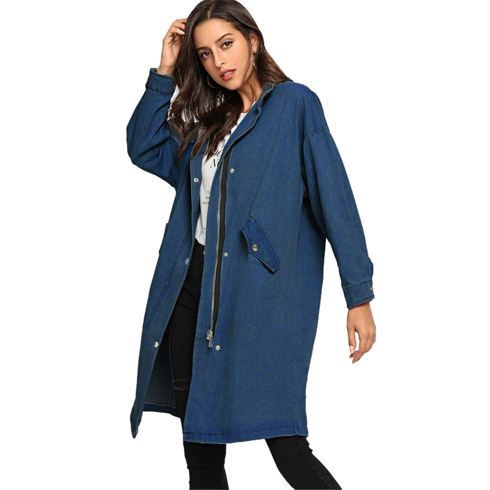 Loose Coat Long-Fund Autumn Winter Woman And European Cowboy Stand Lead Code Easy Leisure-Time