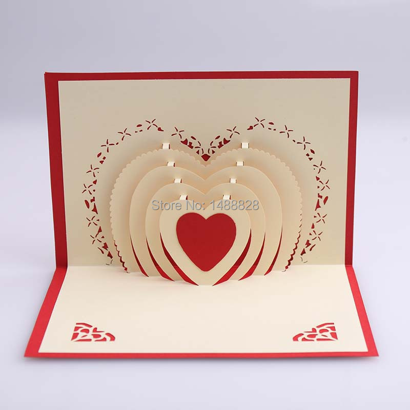 Express card love Valentines love 3D Paper greeting Christmas – 3d Valentine Cards