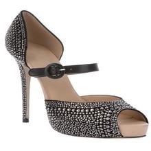 Schwarz OL Schuhe Für Frauen Sapatos Femininos Strass Schnalle Knöchelriemen-spool High Heels Peep Toe Plattform Mary Janes Party Sandalen