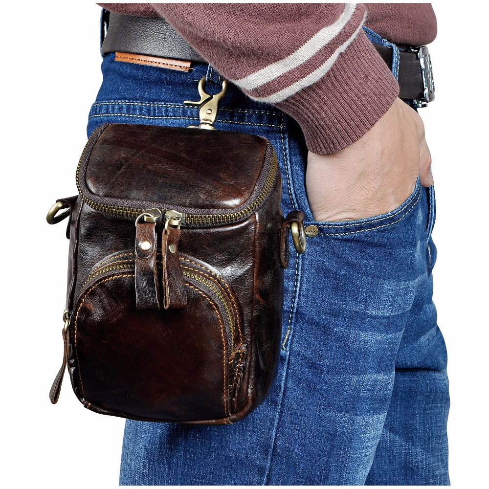 Quality Leather Men Design Casual Multifunction Small Messenger Crossbody Bag Fashion Hook Waist Belt Bag Phone Pouch Male 1167c
