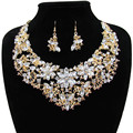Trendy necklace Women jewelry sets boho crystal 3 colors flower statement necklace earrings for wedding party Direct Selling