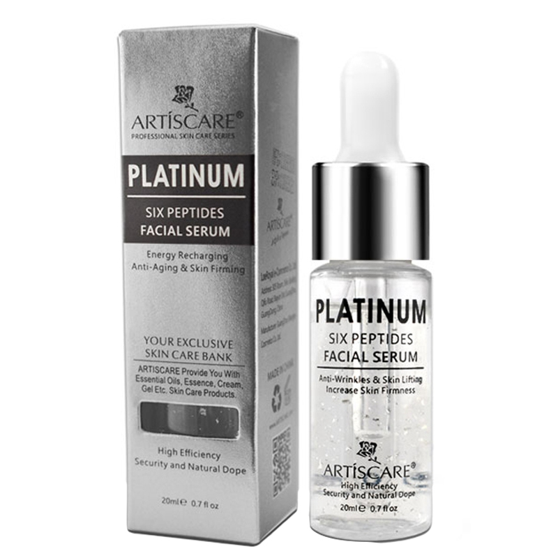 Platinum Six Peptides Serum Hyaluronic Acid Anti-Wrinkle 24K Gold Face Essence Anti Aging And Whitening Skin Care 20ml