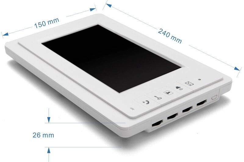 """bilder für KOSTENLOSER VERSAND Brand New Wired 7 """"LCD Farbbildschirm für Video-türsprechanlage Intercom System Weiß Monitor Entsperren Intercom AUF LAGER"""