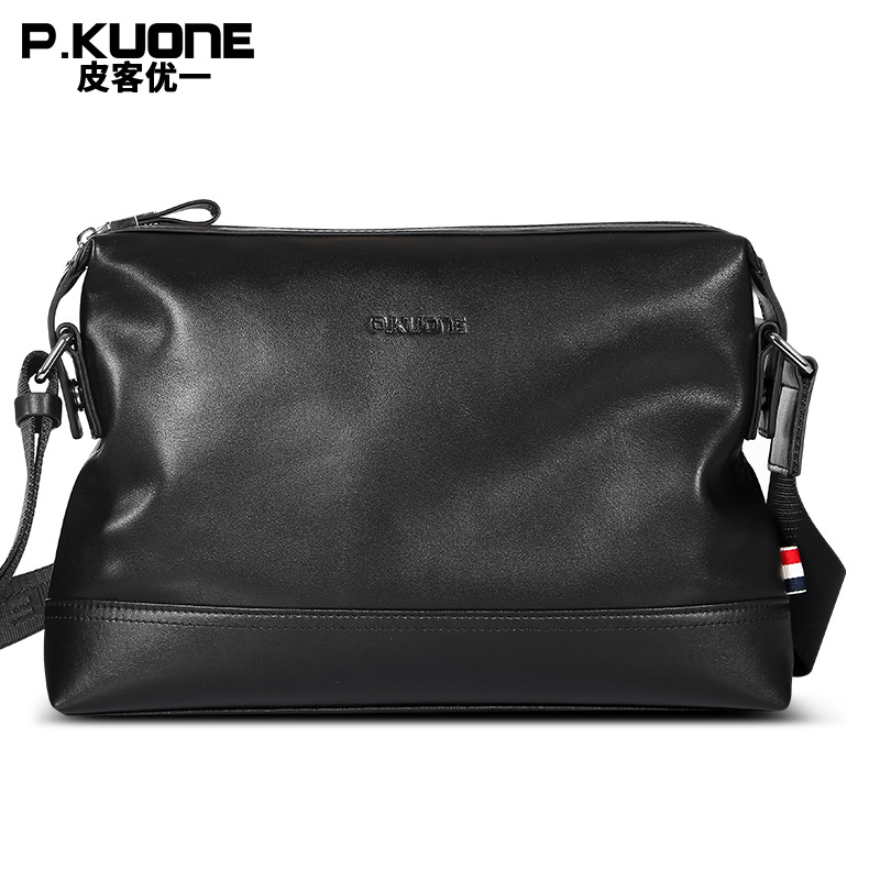 P.KUONE 2017 New Design Genuine Leather Handbag Men Shoulder Bag High Quality Male Messenger Bag Fashion Luxury Brand Travel Bag rowling original design new men s handbag male double screw lock design trend package shoulder bag messenger crossbody bag mb15