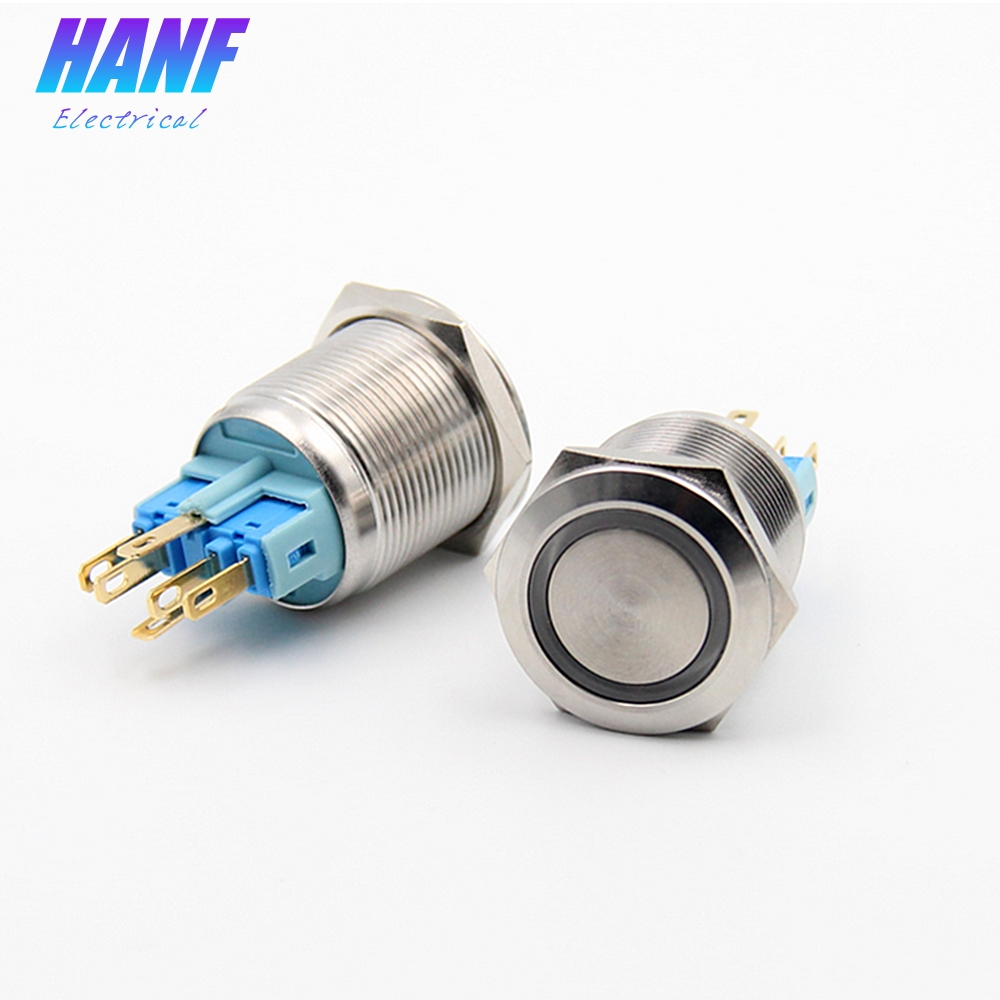 1pcs 22mm 2A/220V 1NONC LED Ring-illuminated Flat Head Self-latching Metal Push Button Switch With LED lamp Waterproof 6 pins