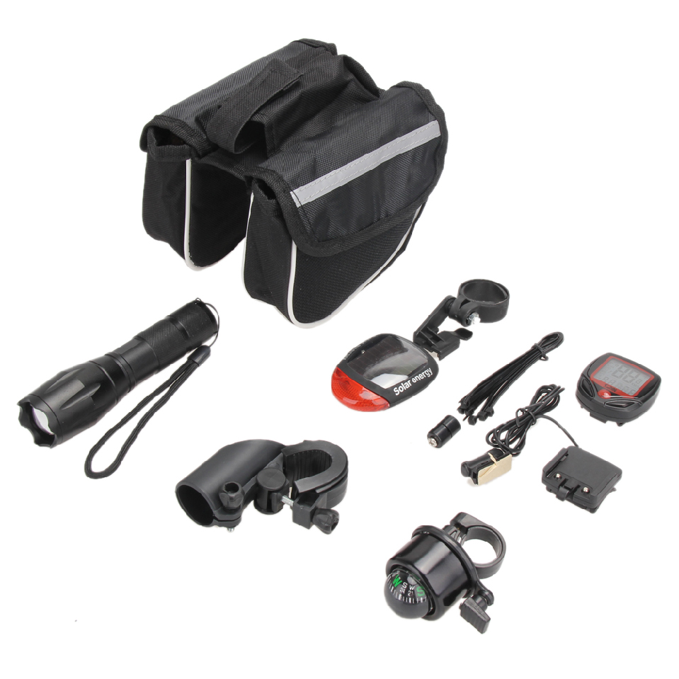 Cycling Bicycle Accessories Kit 5000LM T6 Flashlight+ Bicycle Rear Tail Lights + Stopwatch+ Bike Tube Bag+ Bell+ Bracket hot coolchange waterproof bike bag frame front head top tube cycling bag double ipouch 6 2 inch touch screen bicycle bag accessories