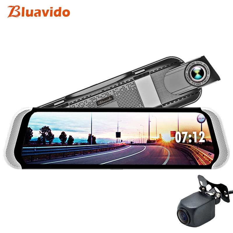 Bluavido 10 Inch 4G Android Rear view Mirror 1080P Dash Camera GPS Navigation ADAS Night vision Car DVR Dual Lens video recorder