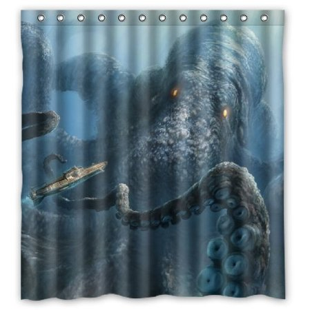 Octopus PatternDeep Sea Monster Art Waterproof Shower Curtain Polyester Fabric 160x180cm Bathing Curtains With