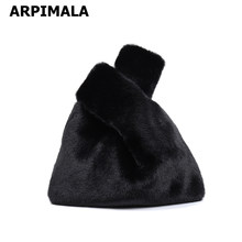 ARPIMALA 2018 Women Faux Mink Fur Handbags Clutch Bag Luxury Designer Evening Bag Famous Brand Ladies Grab Bags Shopper Tote(China)