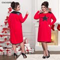 Party Dress Autume Ladies Plus Size O-neck Long Sleeve Dress Loose Large Size 6XL Office Print Star Dress L-6XL