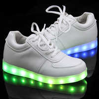 Colorful luminoso shoes 2017 bambina bambino led sport shoes di ricarica usb lampeggiante antiscivolo casuale bambino luminoso shoes luci up