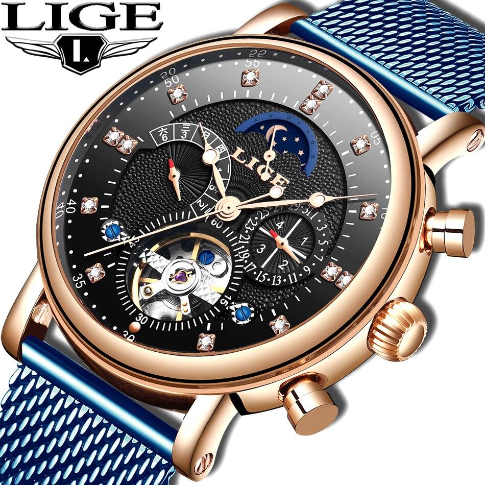 LIGE 2019 business watch men Automatic Luminous clock men Tourbillon waterproof Mechanical watch top brand relogio