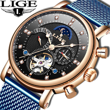 лучшая цена LIGE 2019 business watch men Automatic Luminous clock men Tourbillon waterproof Mechanical watch top brand relogio masculino