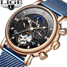 LIGE 2019 business watch men Automatic Luminous clock men To