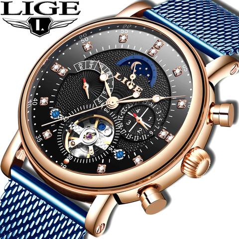 LIGE 2019 business watch men Automatic Luminous clock men Tourbillon waterproof Mechanical watch top brand relogio masculino Pakistan
