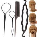 4 unids/set herramientas para estilizar el pelo, pinzas para el pelo, placa de doble gancho, peine de aguja, accesorios para el cabello para niñas