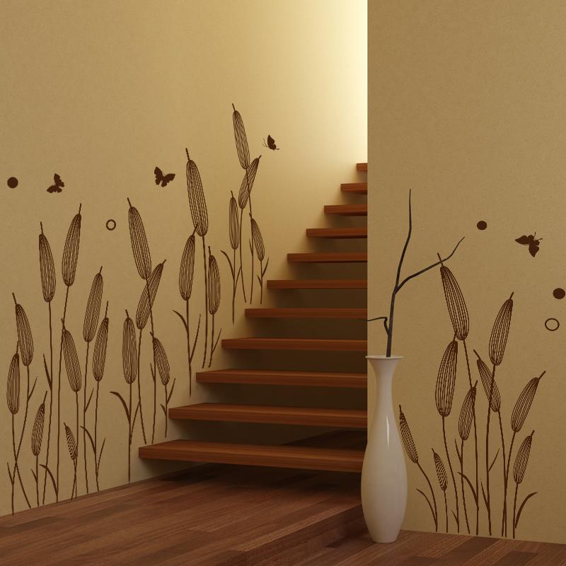 shijuehezi caf claro junco zcalo pegatinas de vinilo plantas diy arte de la pared