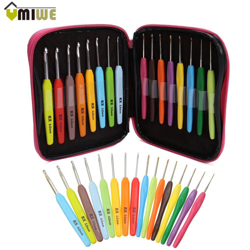 Crochet Hook Set 22pcs Multi-colour Aluminum Crochet Hook Needles Knit Weave Craft Yarn Stitches Diy Craft Knitting Crochet Hook Comfortable And Easy To Wear Tool Sets