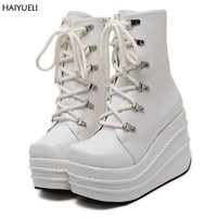 Size 35 43 Botas Mujer Plataforma 2016 Winter Womens Boots Punk Style White Wedge High Heel