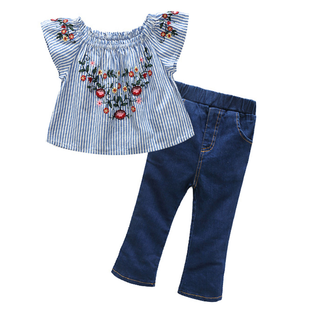 цена на 2pcs Summer Girls Clothing Set Older Kids Blue Striped Navy Embroidery Flying Sleeves Shirts+Denim Flares Fashion Girls Outfits