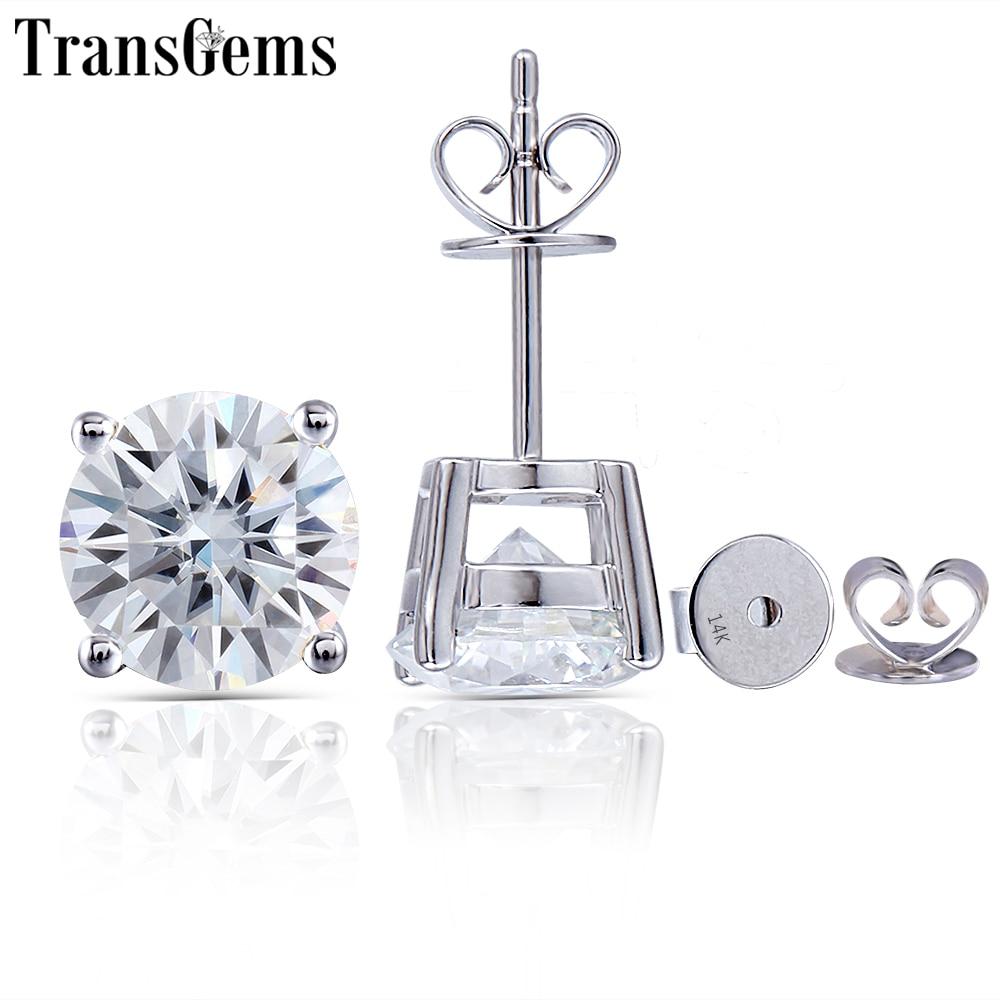 Transgems 14K 585 White Gold 2 4CTW 7MM or 1 6CTW 6MM GH Color Moissanite Diamond