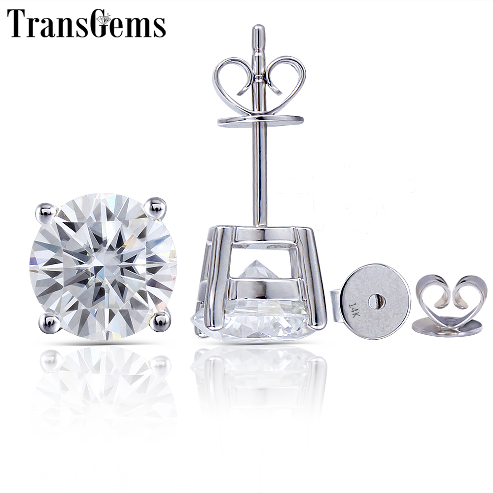 Transgems 14 K 585 oro blanco 2.4CTW 7 MM o 1.6CTW 6 MM GH Color Moissanite diamante Stud pendientes para regalo de fiesta para mujer-in Pendientes from Joyería y accesorios    1