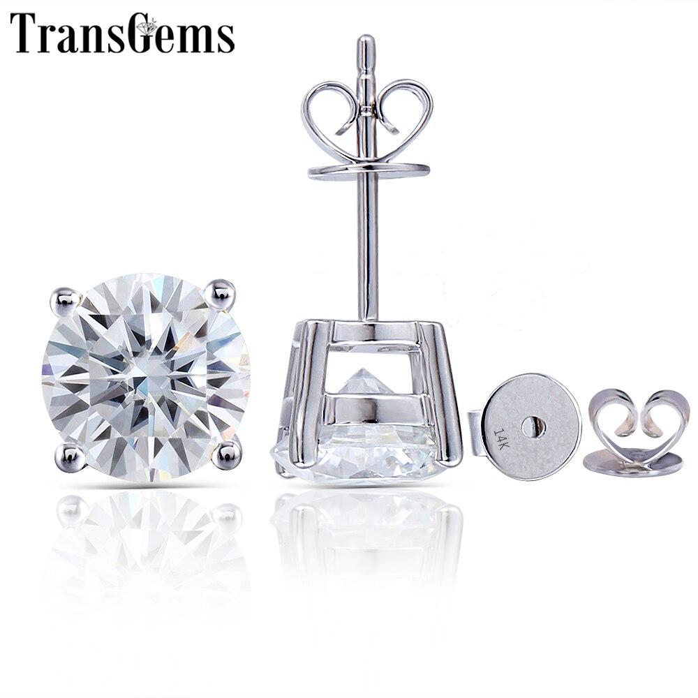 Transgems 14K 585 White Gold 2.4CTW 7MM or 1.6CTW 6MM GH Color Moissanite Diamond Stud Earrings For Women Party Gift Push Back