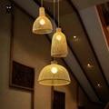 Одиночная бамбуковая Плетеная крышка из ротанга абажур подвесной светильник ремесло скандинавский подвесной потолочный светильник Luminaria ...