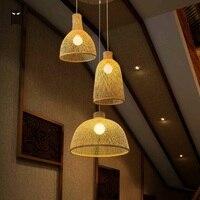 Enkele Bamboe Rieten Rotan Cover Shade Hanglamp Armatuur Craft Scandinavische Opknoping Plafondlamp Luminaria E27 E26 Lamp-in Hanglampen van Licht & verlichting op