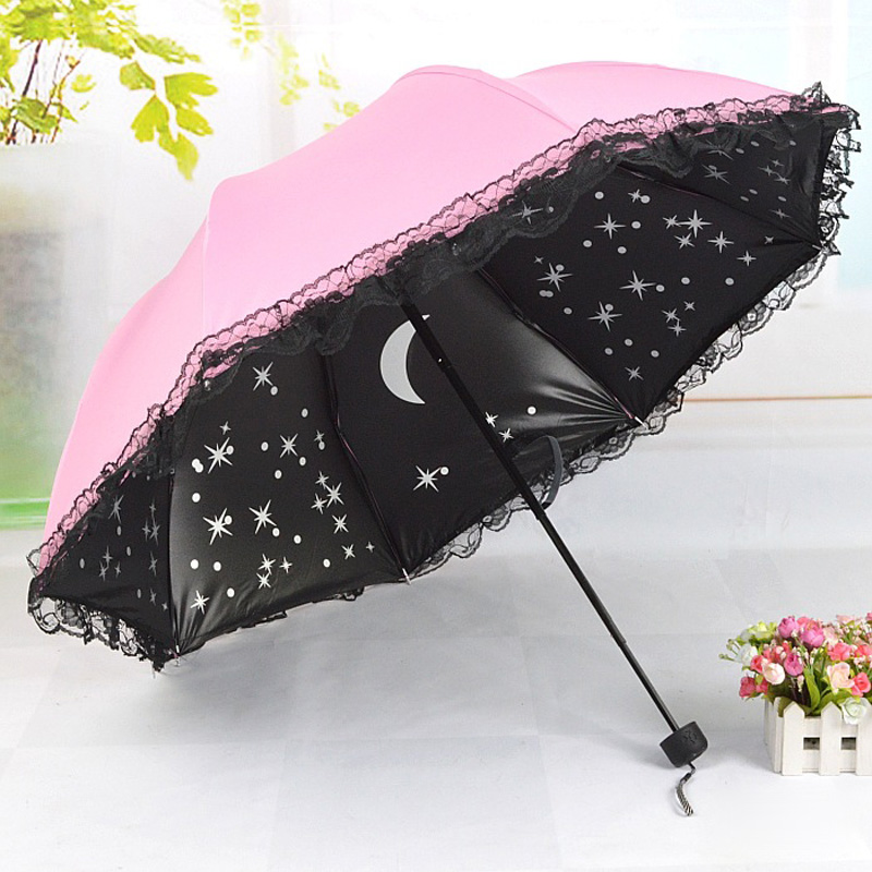 women beautiful starry sky windproof anti uv sun rain princess lace umbrella folding parasol. Black Bedroom Furniture Sets. Home Design Ideas